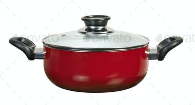 Red ceramic pan isolated