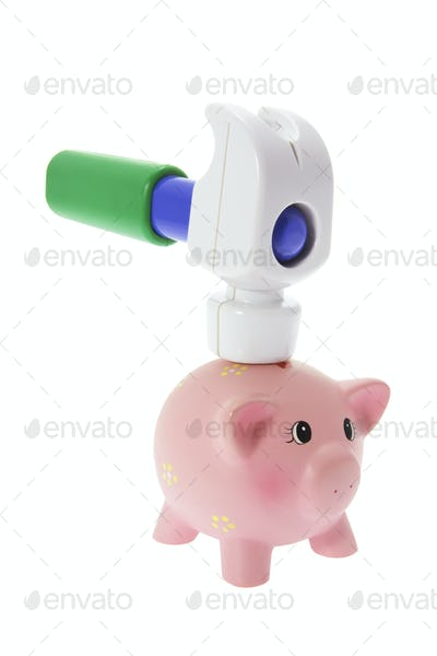 Miniature Piggy Bank and Toy Hammer
