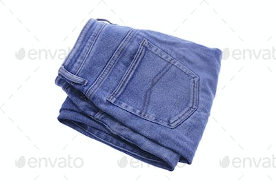 Pair of Folded Denim Jeans