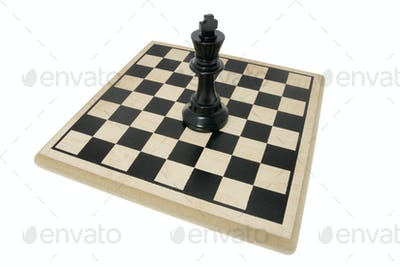 King Chess Piece on Chess Board