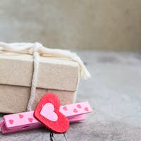 Pink heart and gift