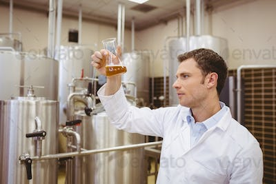 Focused brewer examining beaker with beer in the factory