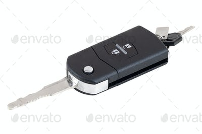 Car key on white background