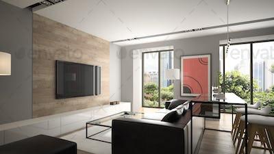 Modern interior design 3D rendering