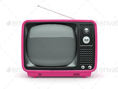 Pink retro TV on white background
