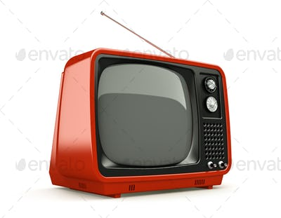Red retro TV isolated on white background