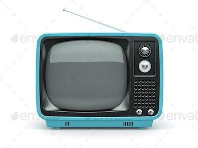 Blue retro TV on white background