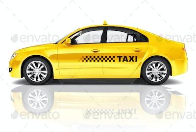 Side View Studio Shot Of Yellow Sedan Taxi Car