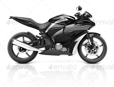 3D Image of a Black Modern Motorbike