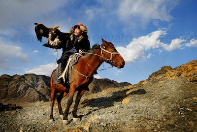 Mongolian Man with Trained Eagle