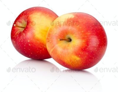 Two red apples fruits on a white background