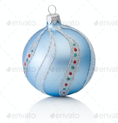 Blue decorations Christmas ball Isolated on white background