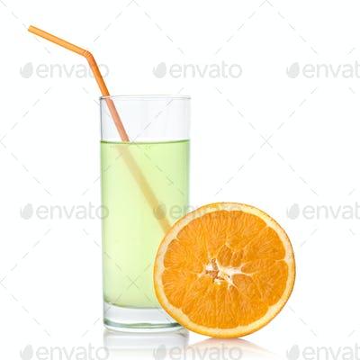 lime juice with orange isolated on white