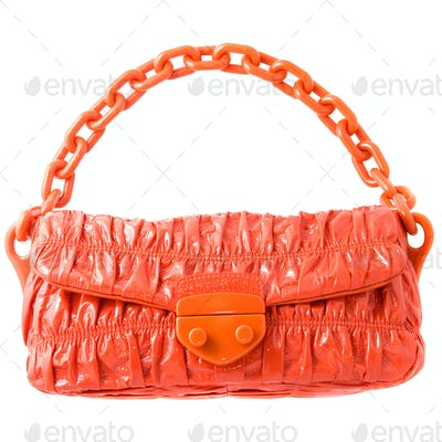 luxury red leather female bag isolated on white