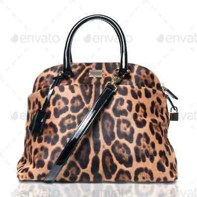 luxury leopard female bag isolated on white