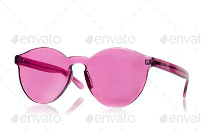 Pink sunglasses isolated on white