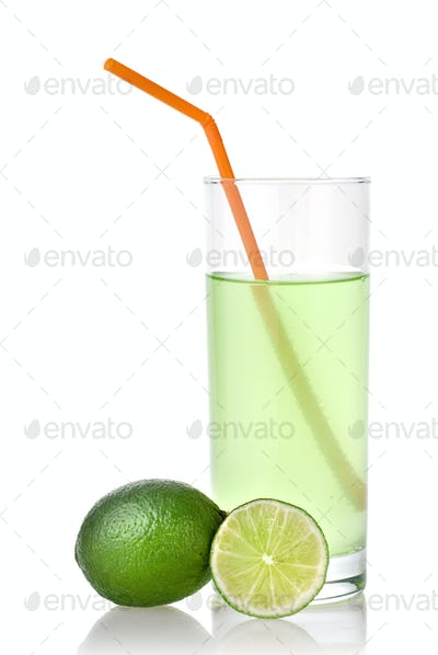 lime juice with lime isolated on white