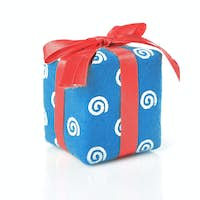 Blue gift with red ribbon isolated on white