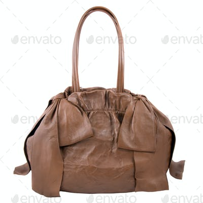 luxury brown leather female bag isolated on white