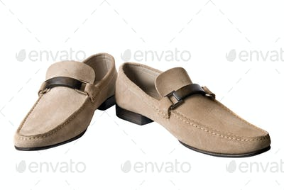 light brown male leather shoes isolated on white