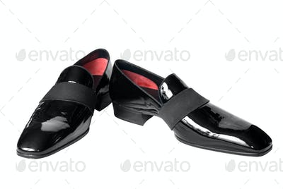 black male leather shoes isolated on white