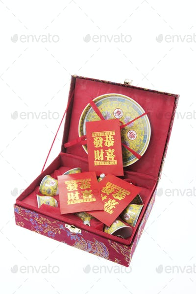 Chinese Tea Set and Red Packets