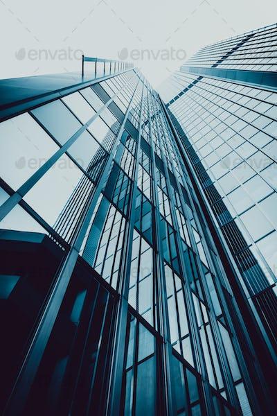 Blue skyscraper facade.  office buildings. modern glass silhouet