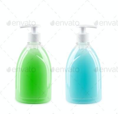 two bottles of liquid soap