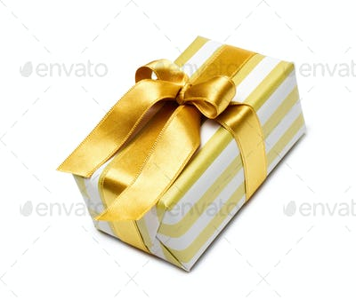Gift box in gold duo tone with golden satin ribbon