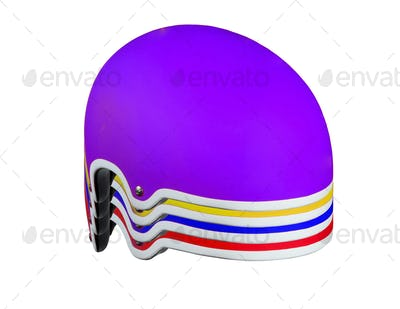 Colored helmets on a white background