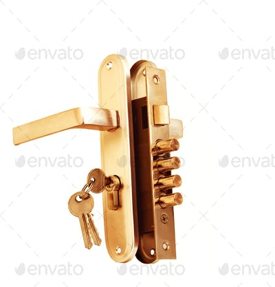 Keys in door lock isolated on white