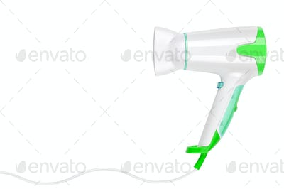 Green hairdryer isolated on white