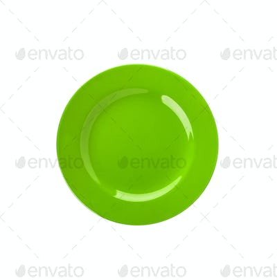 Green plate isolated on white
