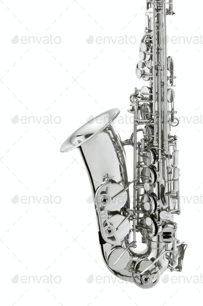 silver saxaphone on the white background