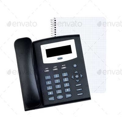 Blank white paper  with telephone