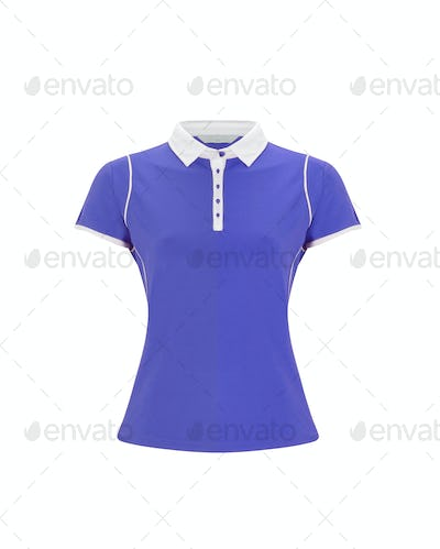 blue polo t-shirt on white background