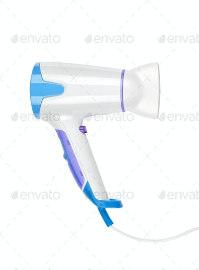 close up of a hair dryer on white background