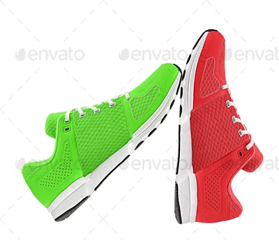 red and green womens sport shoes