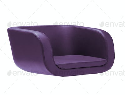 Dark purple armchair isolated on white