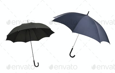 two umbrellas isolated on white