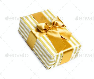 Gift box in gold duo tone with golden satin