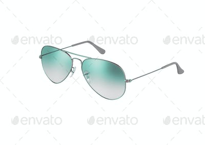 green sunglasses isolated on white