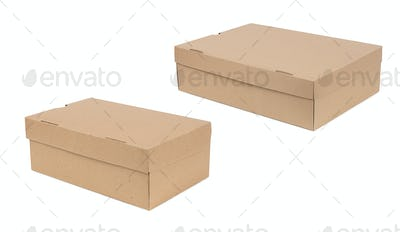 Closed shipping two cardboard boxes