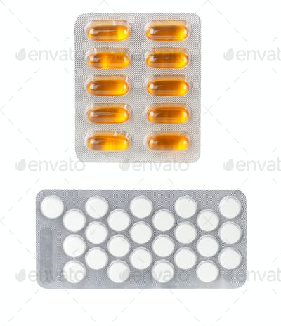 Packs of Medical Pills isolated on white background