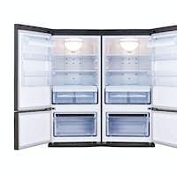 modern refrigerator with open doors