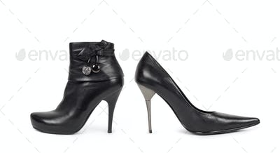 Black Womens Shoes - Isolated on White