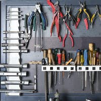 tools on a metal board