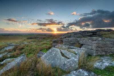 Sunset from Alex Tor on Bodmin Moor in Cornwall