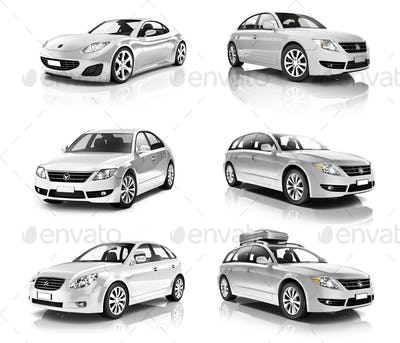 3D Collection of Luxury Silver Sports Car