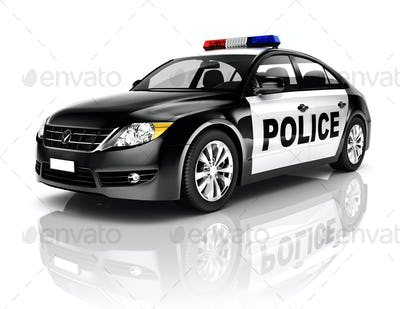 Side View Studio Shot Of Black Sedan Police Car